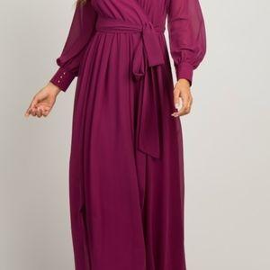 Magenta Chiffon Long Sleeve Pleated Maxi Dress